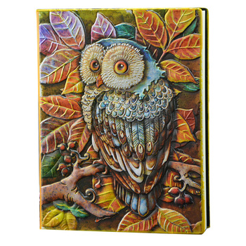A5 Notebook Color Owl 3D Relief Style PU Cover Travel Notebook Retro Printing Decoration Diary Exquisite Book Festival Gift a5 chinese style color painting page vintage notebook with tassel cute retro book china 70 sheets paper exquisite stationery