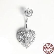 2019 crystal heart 925 silver body jewelry piercing belly ombligo navel for women fashion