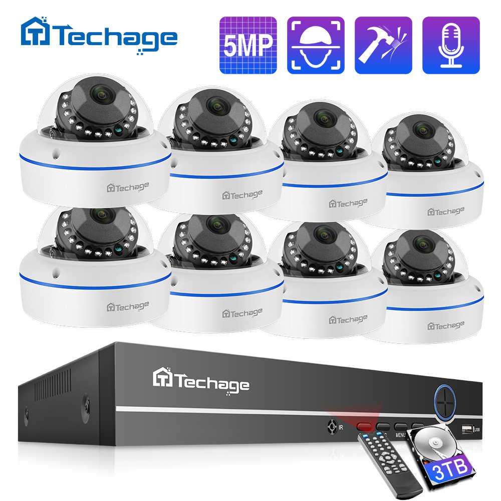 Techage H.265 8CH 5MP POE NVRระบบกล้องวงจรปิดVandalproof 5MP Dome Indoor Dome IPกล้องP2Pการเฝ้าระวังวิดีโอความปลอดภัยชุด 2TB HD