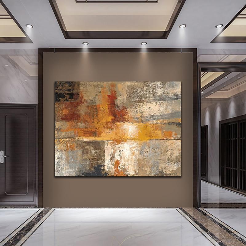 Абстрактный желтый Cuadros масляная живопись напечатаны на Плакаты и принты стены декоративные украшения для Гостиная Плакаты