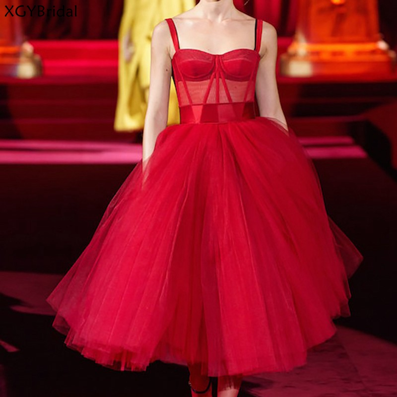 New Evening Gown Prom Dresses 2021 Red Tulle Evening Dress Vintage Formal Dress Vestidos Elegant vestidos de fiesta платья