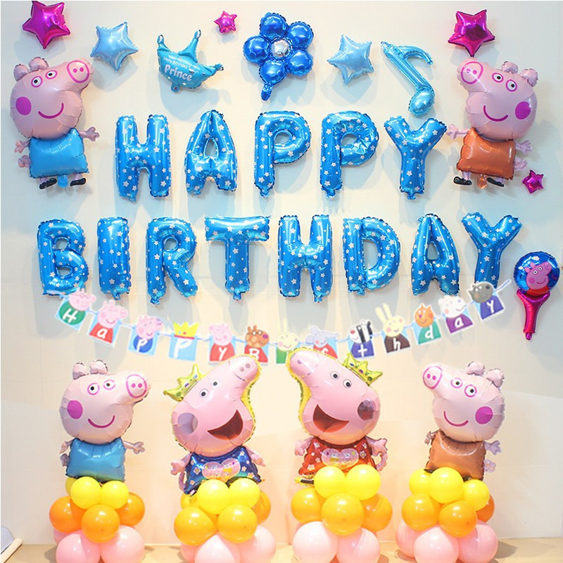Peppa Pig Birthday Party Foil Balloons Birthday Party Room Decorations Pink Blue Kids Toys Party Supplies Balloon Outfit