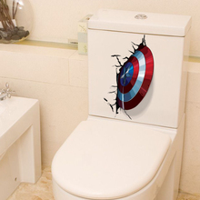 Wall-Stickers Posters Toilet-Decor America-Shield Pvc Mural The Avengers Vivid-Captain