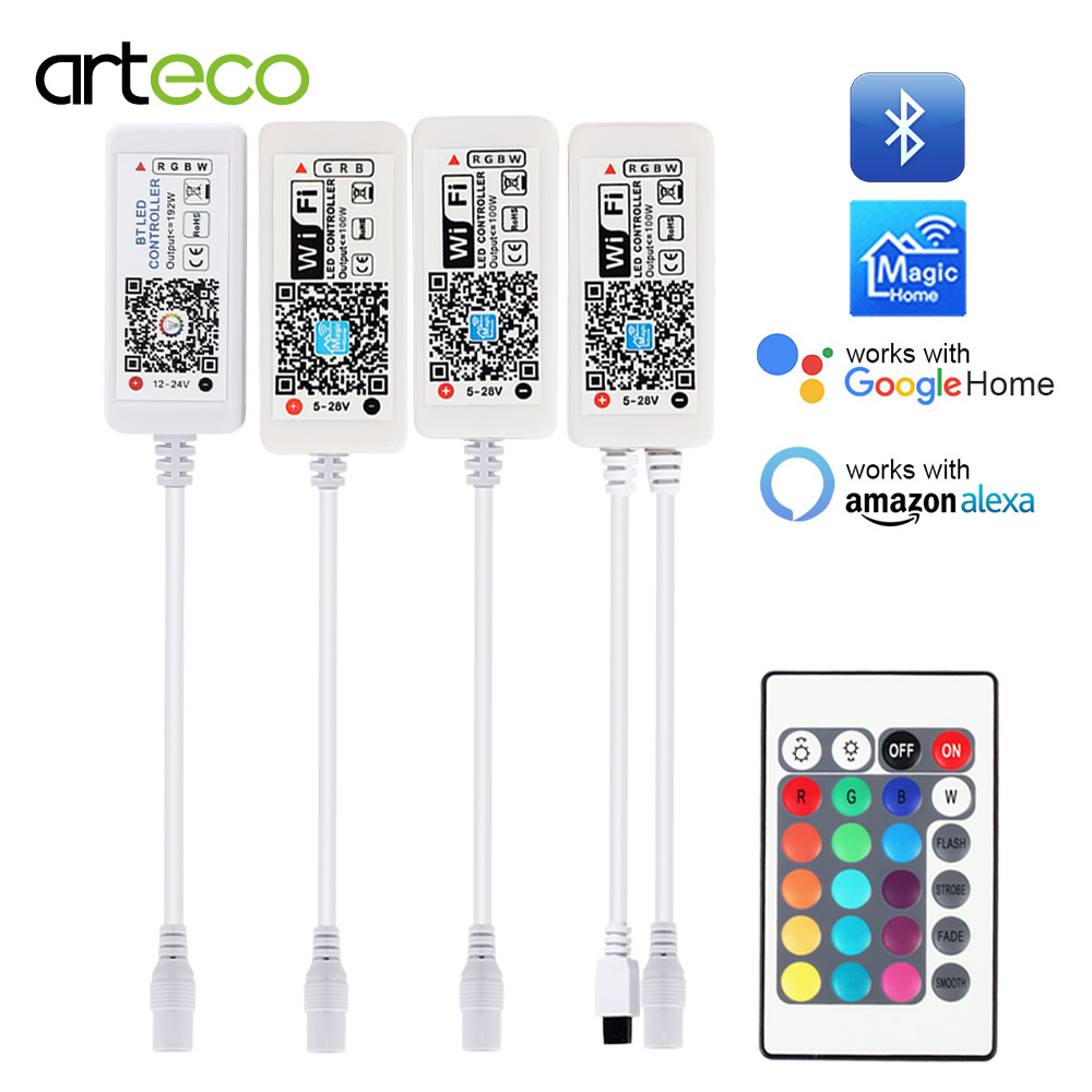 5V 12V 24V LED Strip Bluetooth / WIFI RGB / RGBW / RGBWW Controller Android IOS APP Amazon Alexa Google Magic Home IR Control