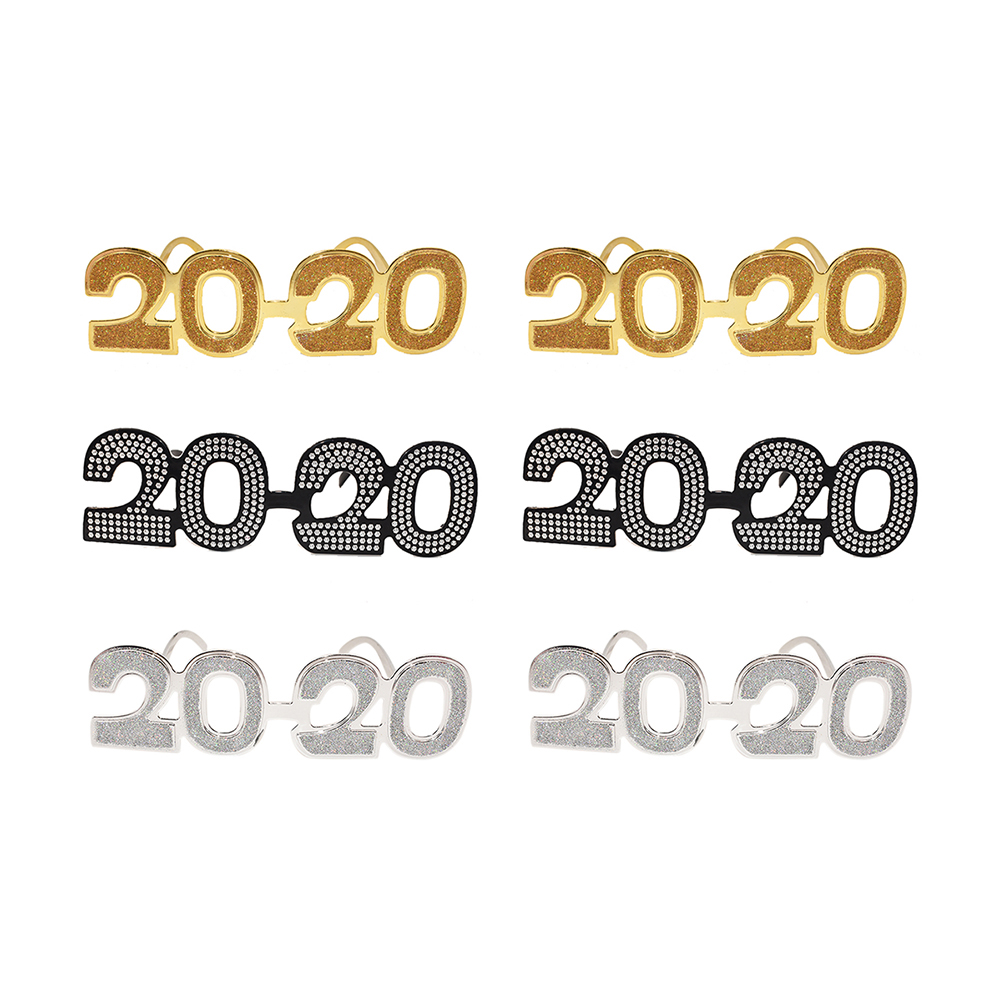 6 pairs of 2020 glasses flash 2020 digital glasses new year fun novel glasses 2020 new year gifts graduation party supplies image