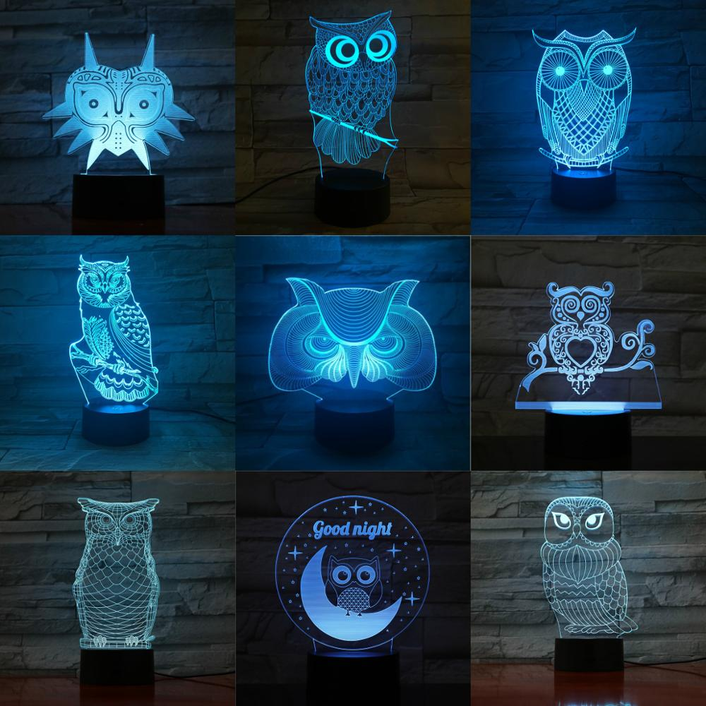 3D LED USB Owl Touch Remote Sleeping Animal Lamp Multicolor Night Light Home Deocration Luminaria Children Birthday Holiday Gift image