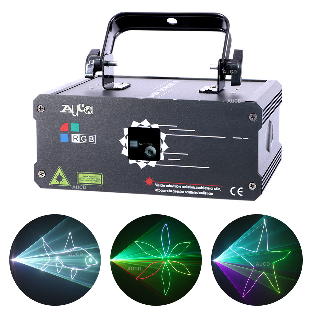 AUCD 500mW RGB Full Color Animation Pattern Scan Projector Laser Lights Professional DMX Disco Party Show DJ Stage Lighting F6A5