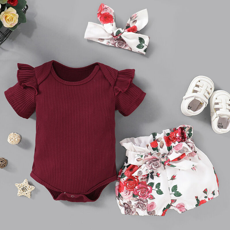 Baby Girl Romper Newborn Flying Sleeve Soft Comfortable Cute Backless Infant Jumpsuit Outfits for Summer 90-Red