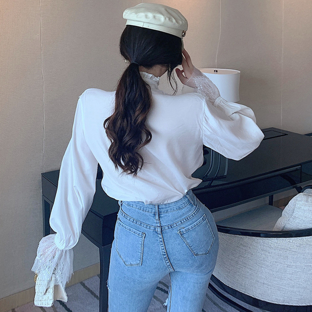 Mesh Vintage White Blouse Women 2020 Female Tops Korean Fashion Lantern Sleeve Lace Black Shirt Elegant 2020 Loose Blusas 11536 5