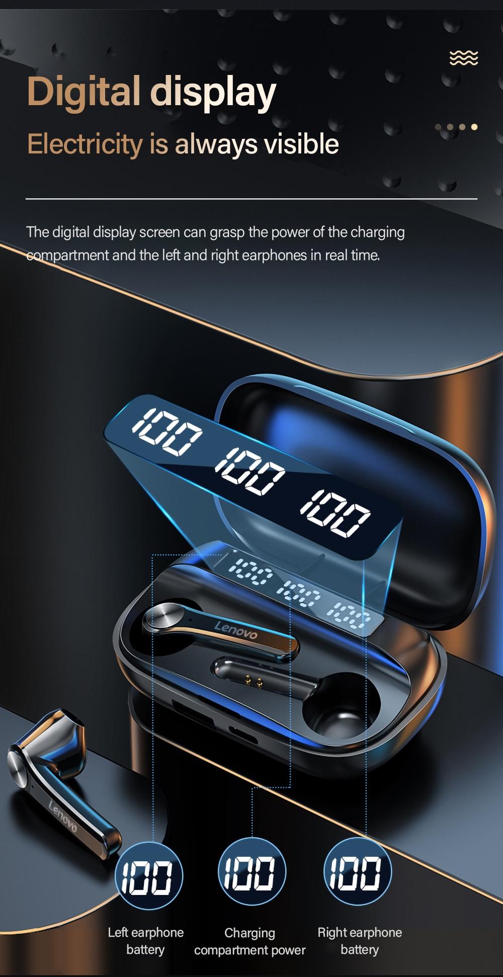 Lenovo QT81 TWS Wireless Waterproof Earbuds