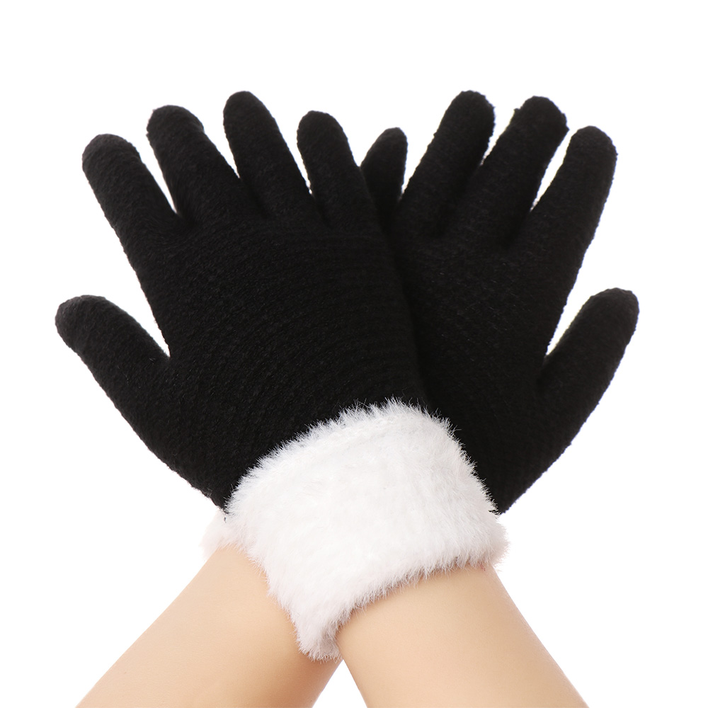 Winter Warm Knitted Gloves Fashion Plush Full Finger Touch Screen Mittens Cute Women Thicken Glove Winter Gloves