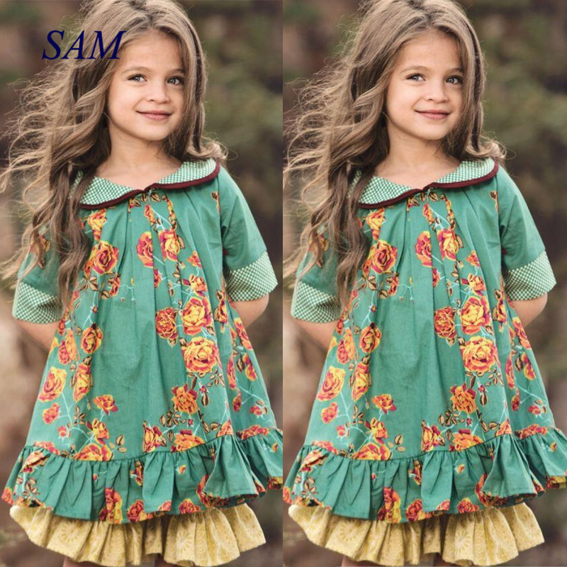 2020 Children's Ins Doll Collar Clothing Girls British Style Retro Dress Princess Flower Party For Kids Dresses