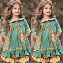 2020 children's ins doll collar clothing girls british style retro dress princes