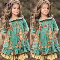 Ins/2020 детская одежда с кукольным воротником, платье в стиле ретро в британском стиле для девочек, вечерние платья принцессы с цветочным рису...