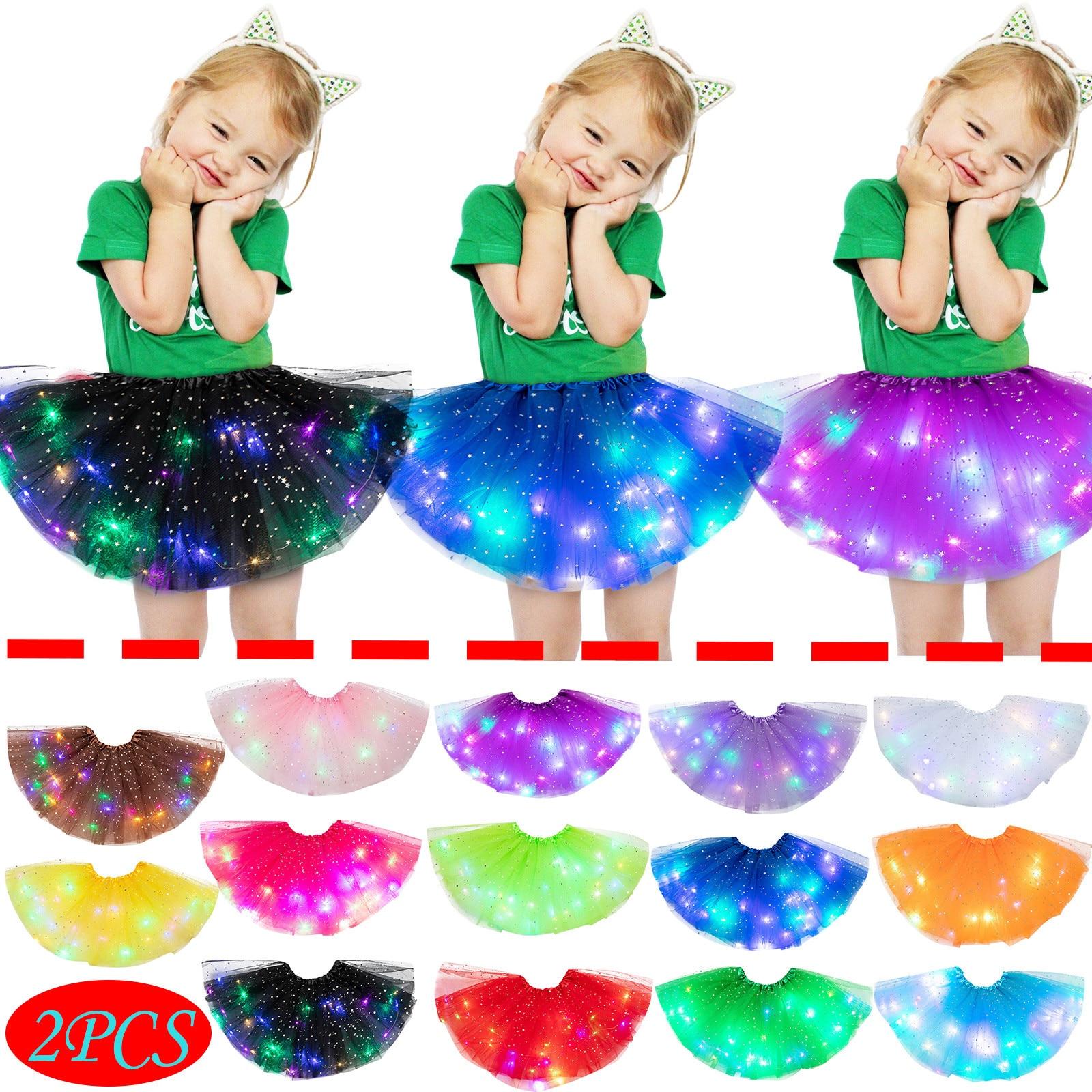 2 pçs meninas tutu saia led brilhante luz crianças meninas bebê lantejoulas led light up pettiskirt ballet roupas traje cosplay roupas