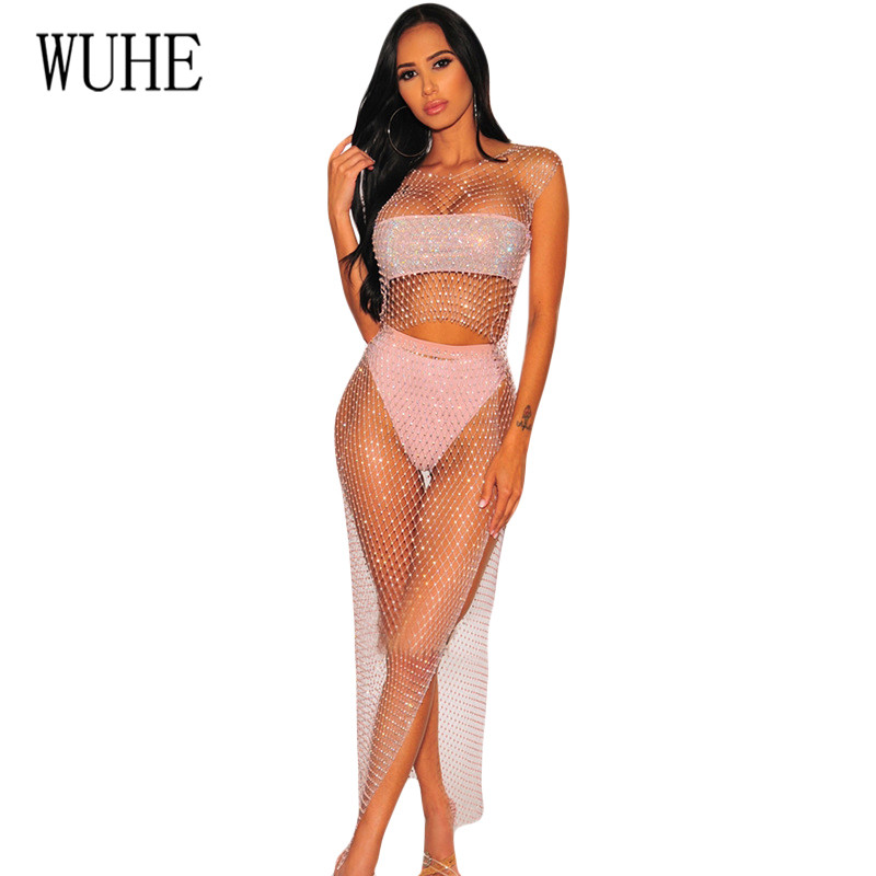 WUHE Grid Split Flash Drill Womens Dress Buckle with 2 Pieces Sets Sexy See Through Hollow Out Diamond Vestidos for Femme