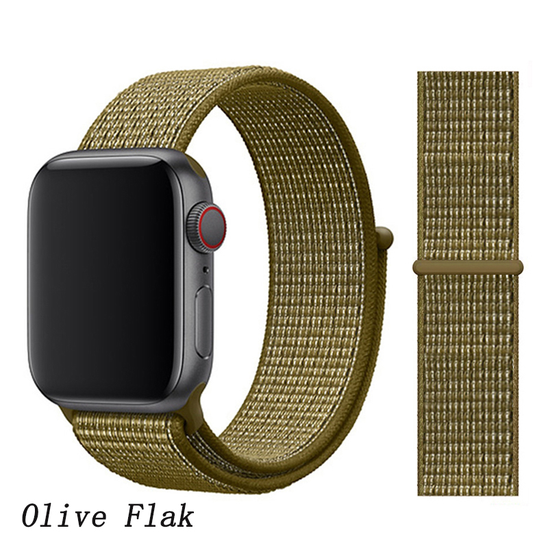 Спортивная петля ремешок apple watch band 42 мм 38 мм apple watch 4 3 band iwatch band 44 мм 40 мм correa pulseira 42 44 нейлоновый ремешок для часов - Цвет ремешка: Olive Flak