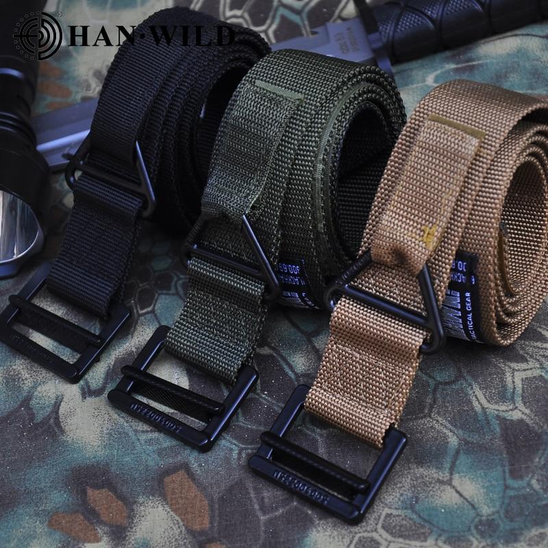 New Tactical Belt Magnetic Buckle Adjustable Nylon Military Belt Men Outdoor Descent Rescue Hunting Training Accessories Belt