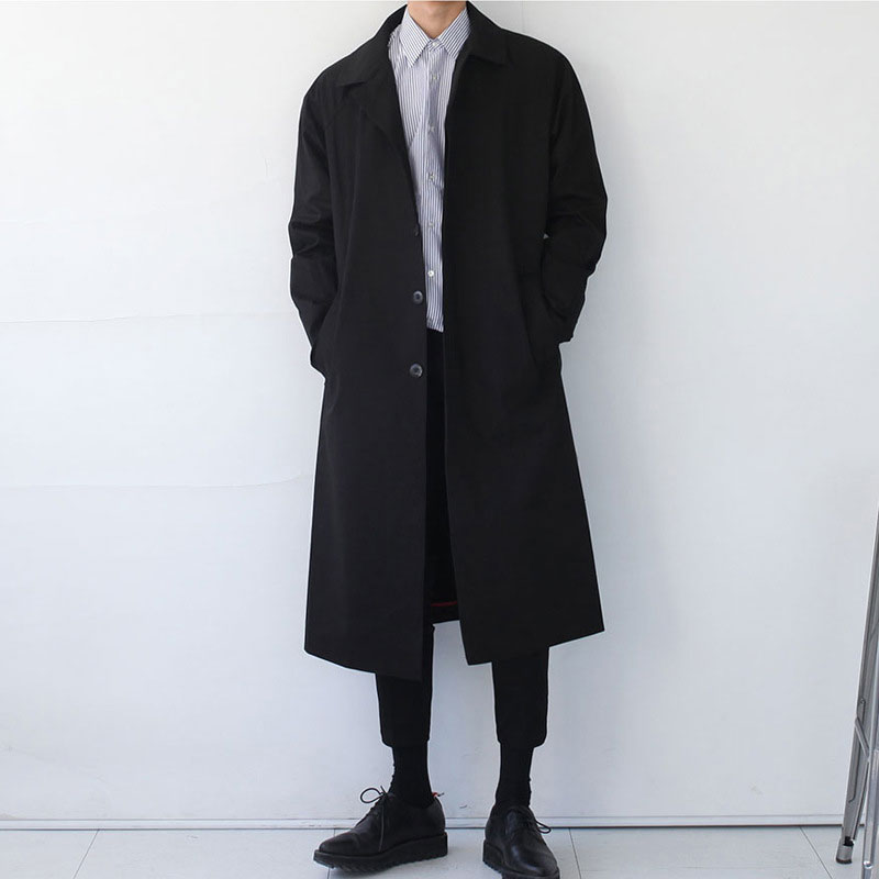 Japan Style Mens Trench Coat  Fashion Designer Long Windbreaker Autumn Winter Single Breasted Windproof Overcoat Plus Size