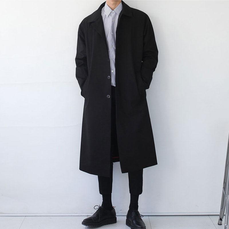 Japan Style Mens Trench Coat  Fashion Designer Long Windbreaker Autumn Winter Single Breasted Windproof Overcoat Plus Size