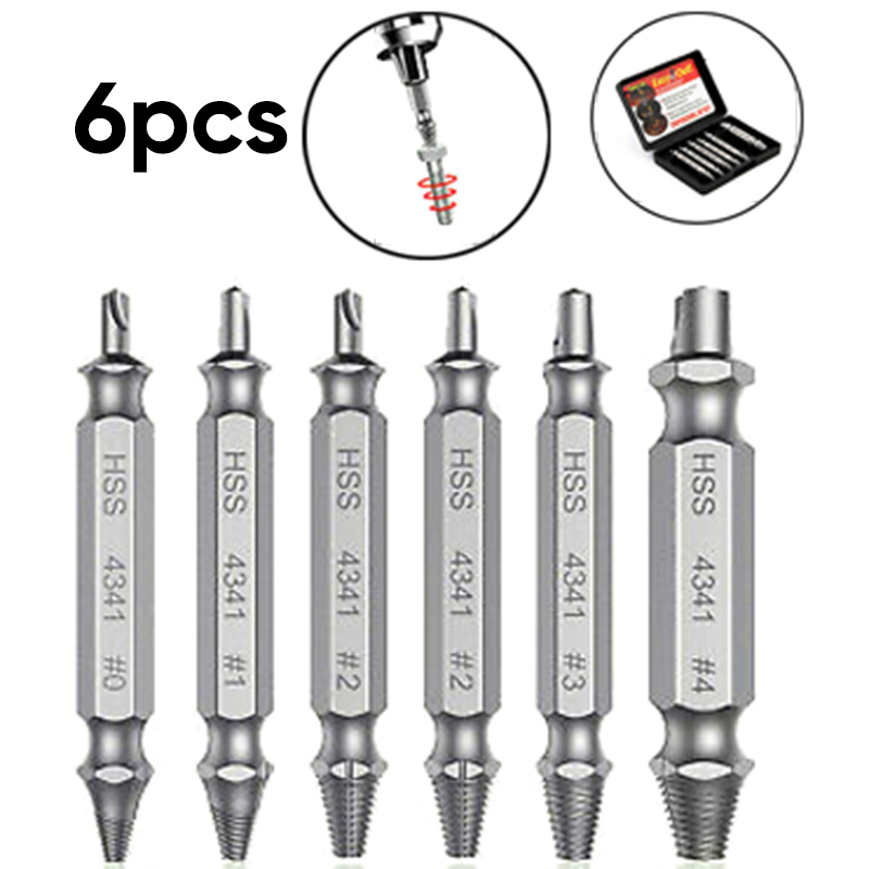 6 PC Broken Bolt Damage Screw Remover Extractor Drill Bit Easy Out Stud-Reverse