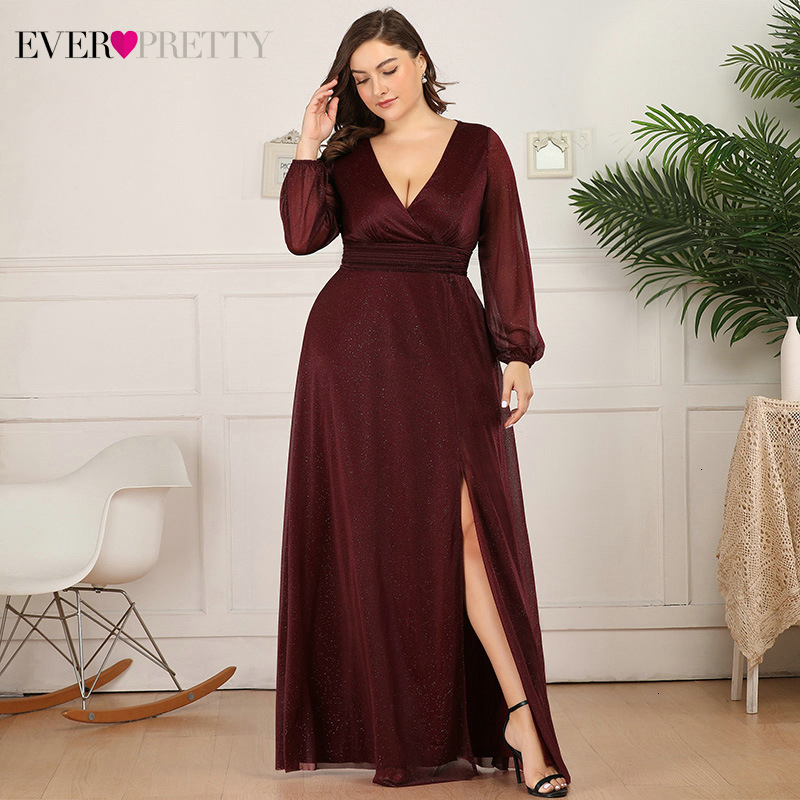 Plus Size Burgundy Evening Dresses Ever Pretty A-Line Side Split V-Neck Long Sleeve Sparkle Sexy Party Gowns Abendkleider 2020