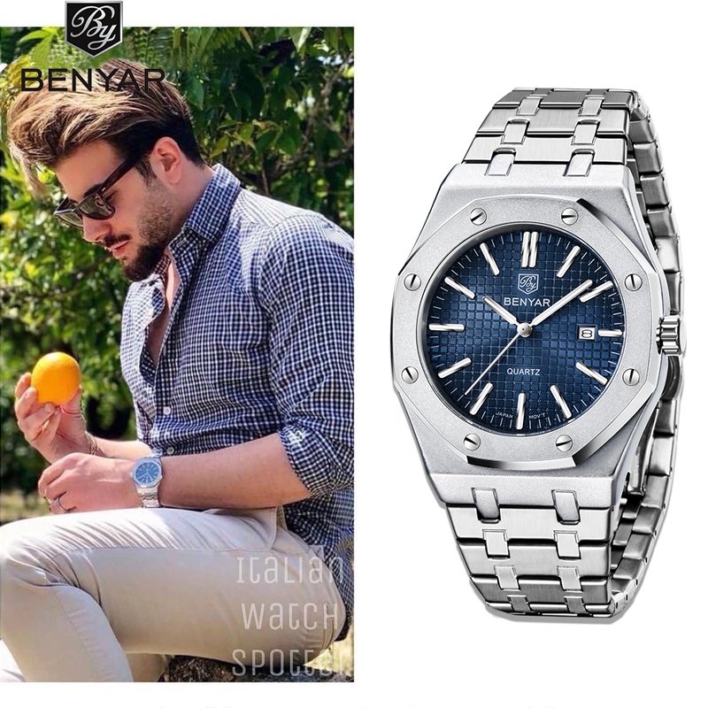 BENYAR 2020 New Mens Watches Brand Luxury Watch Stainless Steel Sport Watch Men Military Waterproof Wristwatch Relogio Masculino