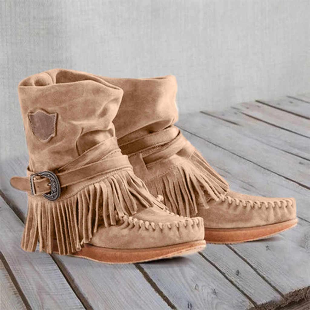 Kovboy çizmeleri kadınlar için klasik püskül batı deri Cowgirl çizmeler düşük topuklu ayakkabı diz yüksek kadın kışlık botlar # L10