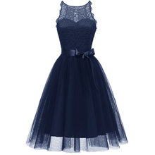 Women's Fashion A-line Lace Sleeveless Bow Decor Dress lace insert sleeveless a line dress
