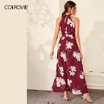 COLROVIE Burgundy Floral Print Wrap Hem Belted Halter Dress Women High Waist Maxi Dress 2020 Spring Summer A Line Boho Dresses 1
