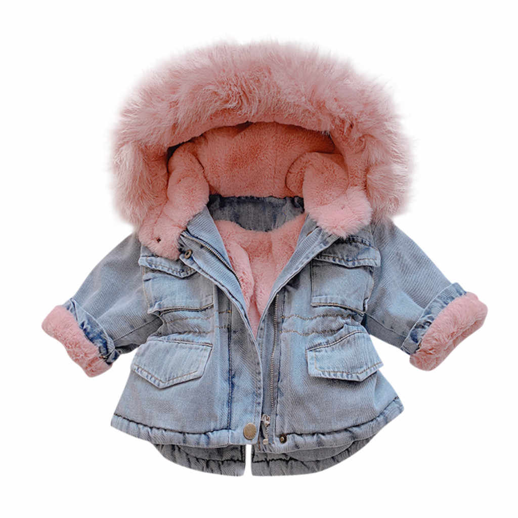 Kids Jacket Winter Coat Toddler Baby Girls Hooded Faux Fur Fleece Warm Thick Denim Coat Outwear Girls Clothes Kiz Cocuk Mont