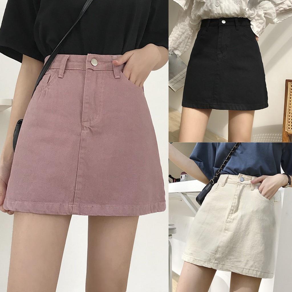 Skirts Skirts  Womens new Denim Skirt Summer Lady Leisure Pure Color High Waist Skirt юбка женская hot sale 2020 drop ship
