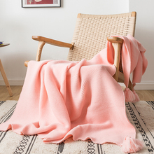 """Plain Blanket Sofa Knit Throw Blanket Solid Soft PomPom Tassels Blanket Travel 130x160cm Home Sofa Chair Couch Bed  50""""x62"""""""