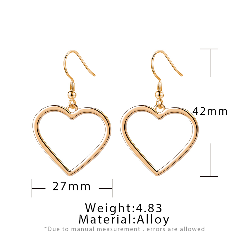 Vintage Unique Gold Metal Heart Drop Earrings for Women Trendy Geometric Statement Dangle Hanging 2020 New Party Accessories