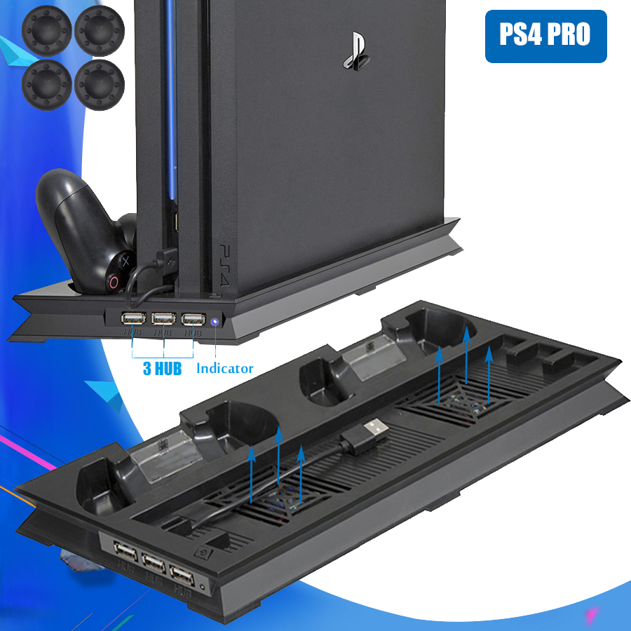 PS4 Pro Stand Cooling Fan Console Game Controller Vertical Holder Joystick Charger Chargring Dock HUB USB FOR SONY PlayStation 4