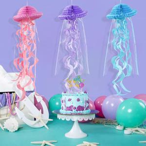 Image 3 - Mermaid Party Decorations Hanging Honeycomb Jellyfish Pastel Mermaid Birthday Supplies Paper Ornament Happy Birthday Favors