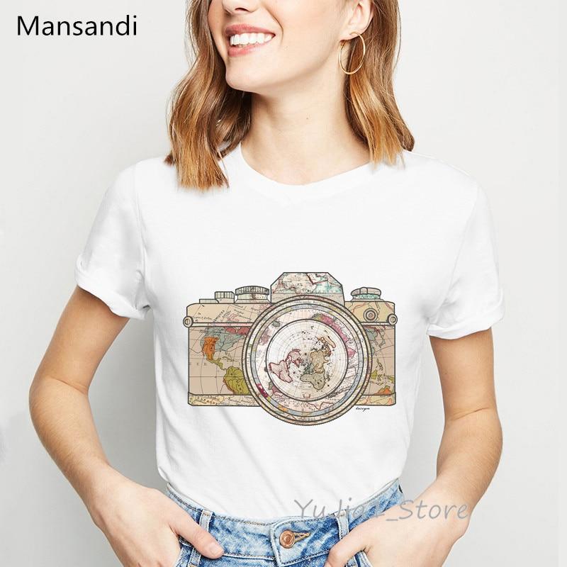 vintage camera world map   t     shirt   women clothes 2019 vogue tshirt camiseta mujer harajuku   shirt   summer tops tee   shirt   femme