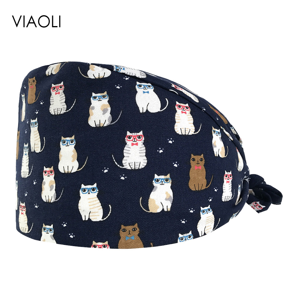 VIAOLI Beauty Salon Surgical Hats Hospital Doctor Nurse Medical Caps Adjustable Printing Nursing Scrubs Hat Clinic Pharmacy Cap