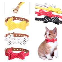 Cute Dog Collar Leash Set Bow Dot Cat Harness Rope Soft PU Leather for Doggie Puppy Small Pet D40