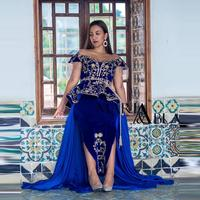 Elegant Off The Shoulder Blue Velour Algerian Karakou Evening Dresses Gold Appliques Crystals Prom Gowns Plus Size Party Dress