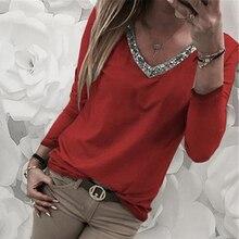 Fashion Womens Tee Shirt Casual Sexy Sequins Tshirt Long Sleeve V-Neck