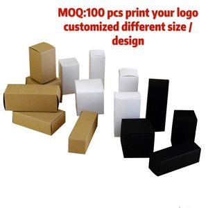 Image 2 - 50 Pcs 100 Pcs Kraft Papier Kartonnen Doos Voor Sieraden Gift Snoep Verpakking Kartonnen Doos Gift Zeep Pakket Verpakking Papier doos Witte