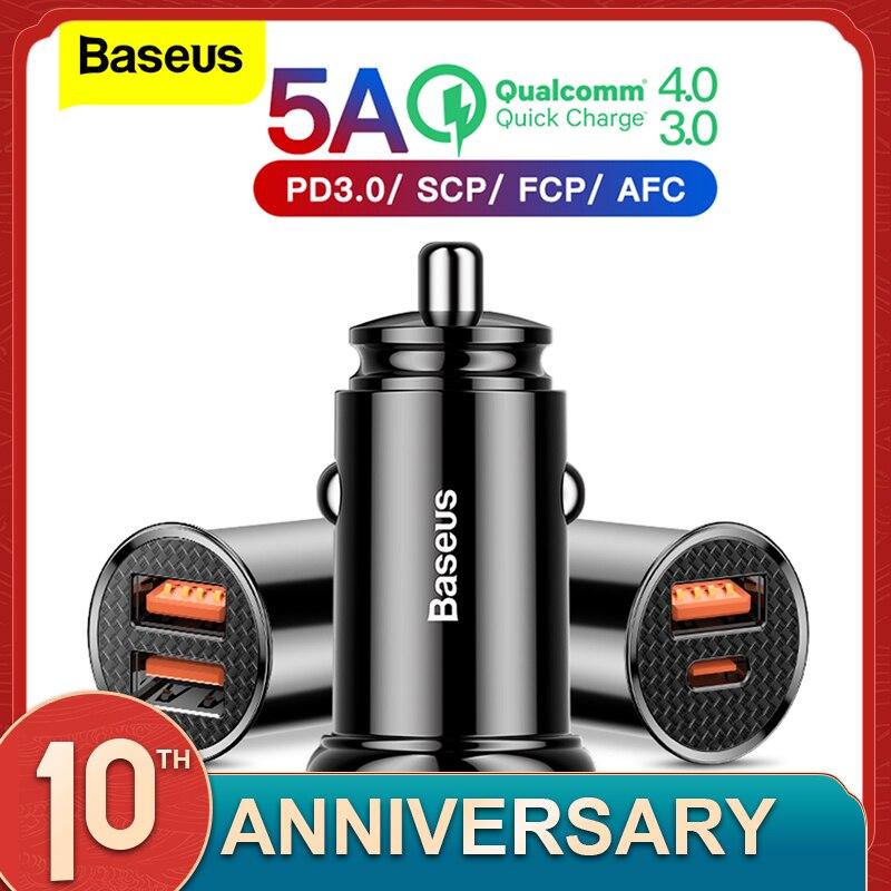 Baseus المزدوج USB شاحن سيارة 5A سريع Charing 2 منفذ USB 12-24 فولت سيارة ولاعة السجائر المقبس ل سيارة USB شاحن محول الطاقة