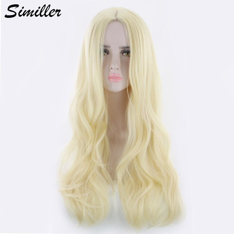 Similler Gold Red Long Synthetic Wigs For Women Curly Hair Heat Resistance Fiber For Party Cosplay Wig With Free Wig Cap