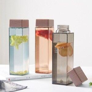 450ml Fruit Juice Infuser Water Bottle BPA Free Plastic Square Transparent Heat Resistant Sport Travel Camping Drink Bottle