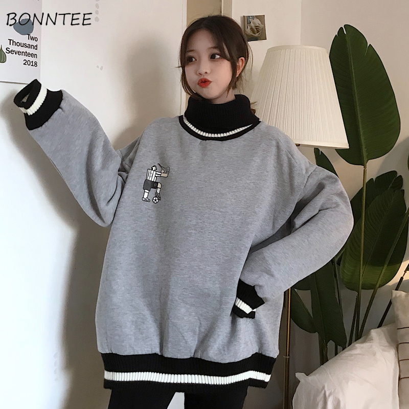 Hoodies Women Thicker Plus Velvet Solid Striped Printed Oversize Loose Turtleneck Full Sleeve Womens Hoodie Leisure Korean Style
