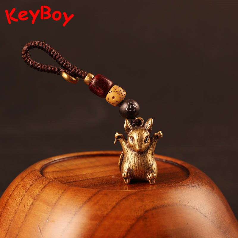 Vintage Copper 12 Zodiac Rat Car Keychain Pendants Lucky Brass Animal Dragon Snake Mouse Rabbit Bull Horse Dog Statue Keyring