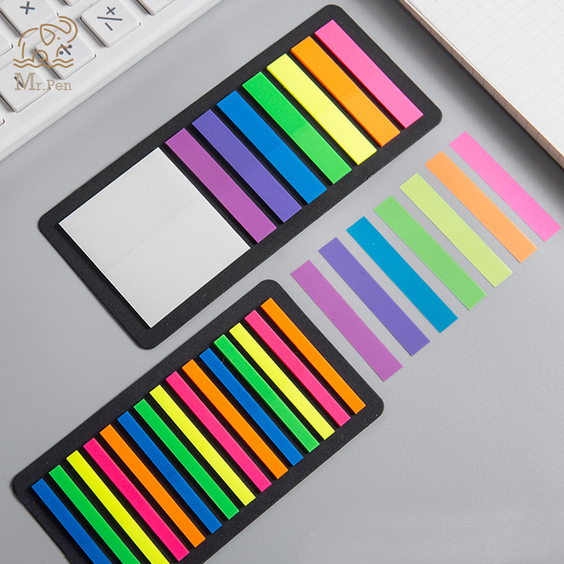 160/300pcs Color Transparent Fluorescent Index Tabs Flags Sticky Note For Page Marker Planner Stickers Office School Stationery