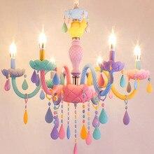 Moderno colorido cristal crianças quarto lustres iluminação macaron cor droplight lustre de cristal moderno hanglamp