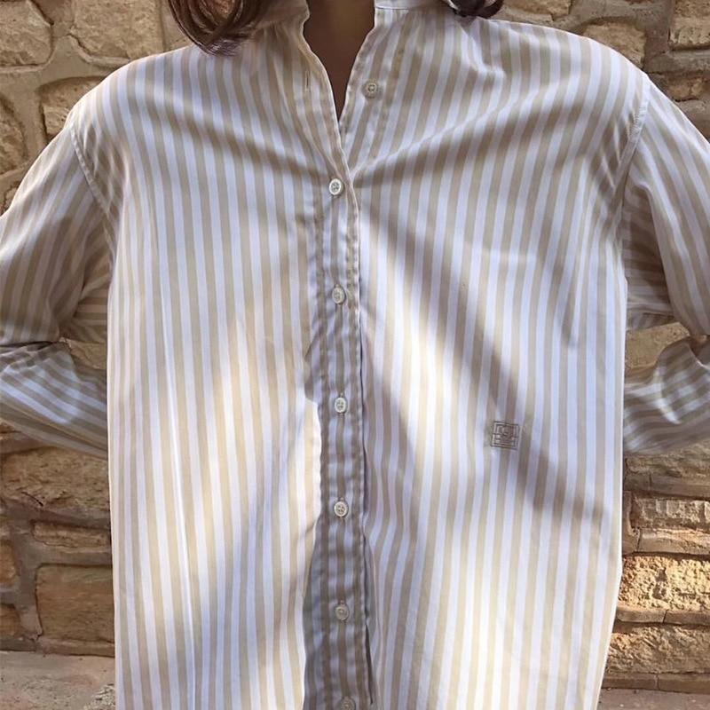 Femmes mode icône Capri avoine coton Blouses à rayures verticales brodé Simple à manches longues chemise